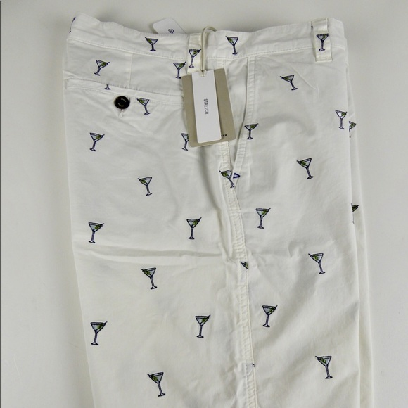 Tommy Bahama Mix Master Shorts Mens 30 Ivory w//Embroidered Martini Glasses NWT